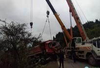 2019年3月17日蓬安S204线锦屏镇张家沟附近,一辆大货车翻至崖坎下