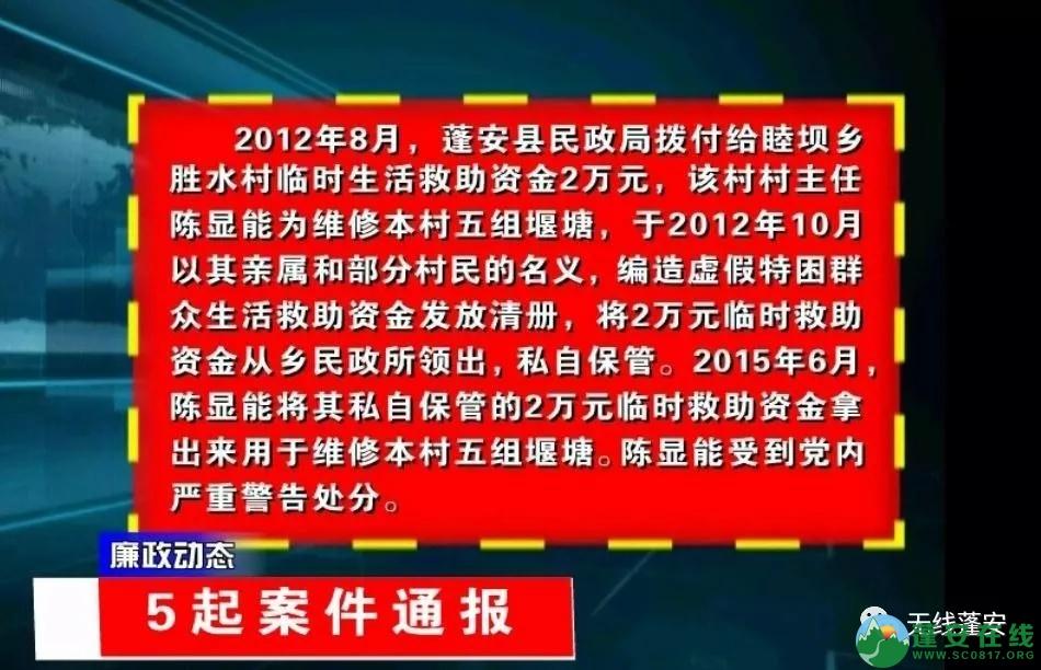 蓬安县纪委监委通报5起违纪违法案例 - 第1张    蓬安在线