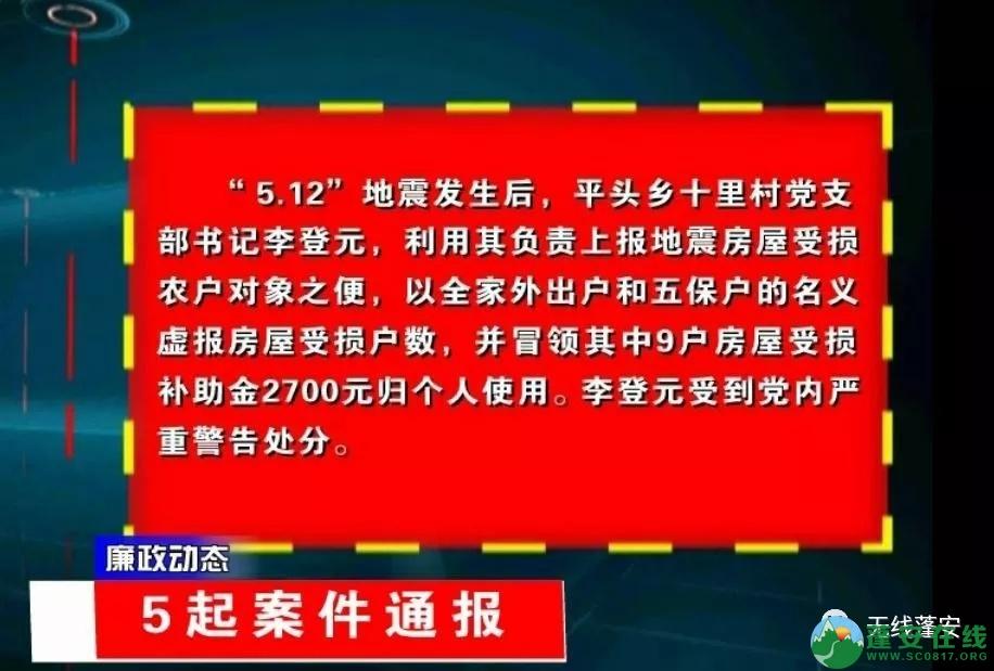 蓬安县纪委监委通报5起违纪违法案例 - 第2张  | 蓬安在线